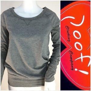 Poof Gray Ribbed Sleeve Swearshirt